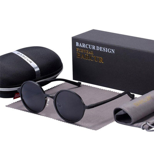 Barcur Luxury Round Polarized Sunglasses - Black