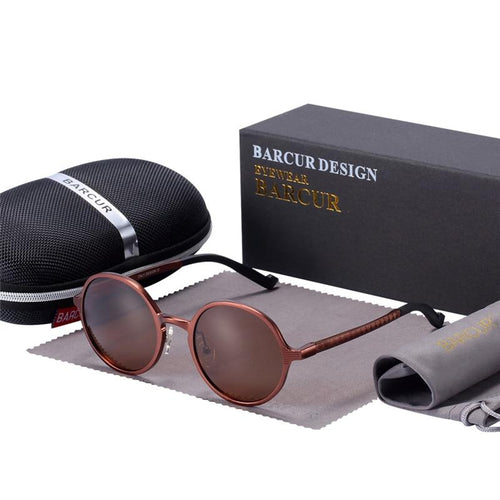 Barcur Luxury Round Polarized Sunglasses - Coffee