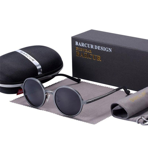 Barcur Luxury Round Polarized Sunglasses - Gun