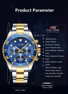 TEVISE Watches Men Luxury Brand Waterproof T823