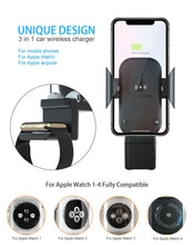 Charger l'image dans la galerie, Chargeur de voiture sans fil 3 en 1 support de montage pour Iphone XS MAX XR 8 Plus X Apple Watch Series 4 3 2 Iwatch Airpods Induction