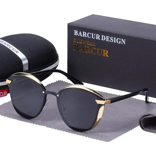 Barcur Polarized Luxury Women Sunglasses - Black