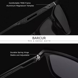 Barcur Polarized Aluminum Sunglasses For Men - Transparent Silver