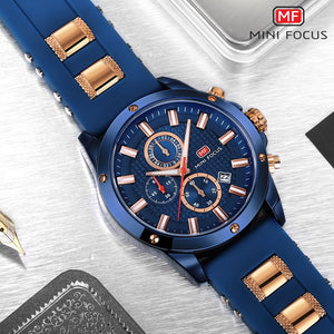 MINI FOCUS Sports Military Watch Men Quartz Clock Chronograph 3 Dials 6 Hands Multifunction Blue Mens Watches Top Brand Luxury