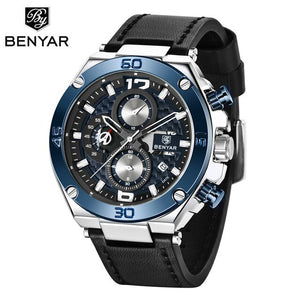 BENYAR Top Luxury Brand Watch Men Analog Chronograph Quartz Wrist Watch leather Band