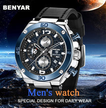 Charger l'image dans la galerie, BENYAR Top Luxury Brand Watch Men Analog Chronograph Quartz Wrist Watch leather Band