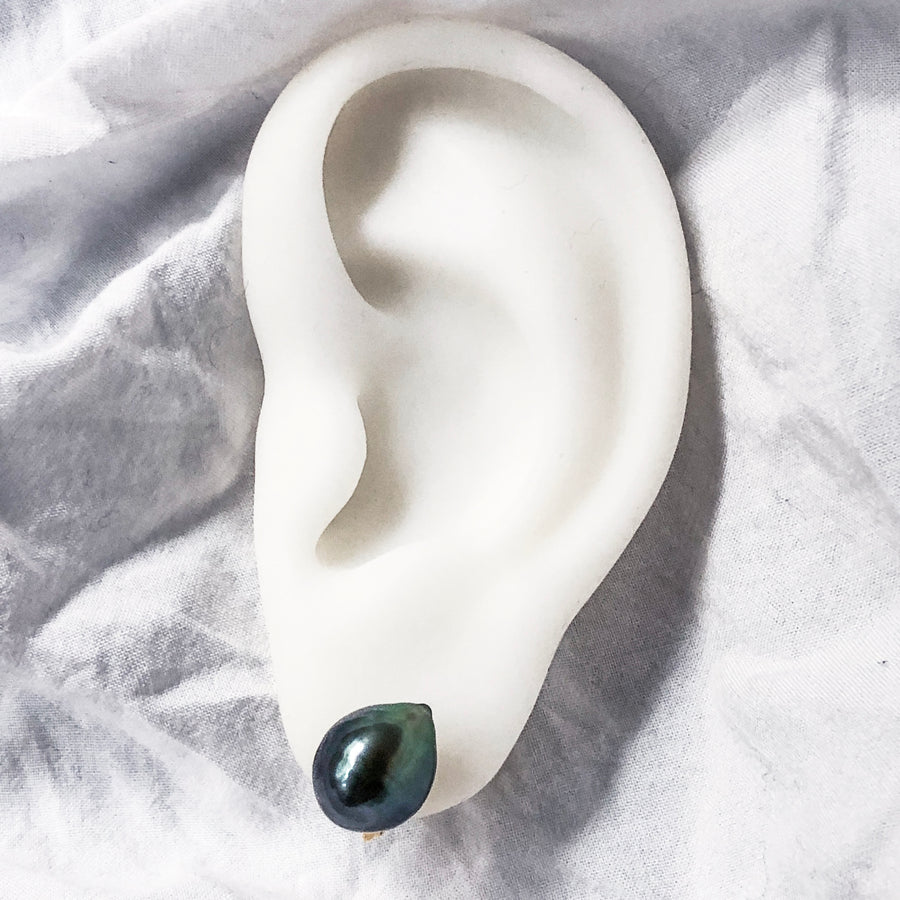 Silver - Soft touch ear crips - Green Black