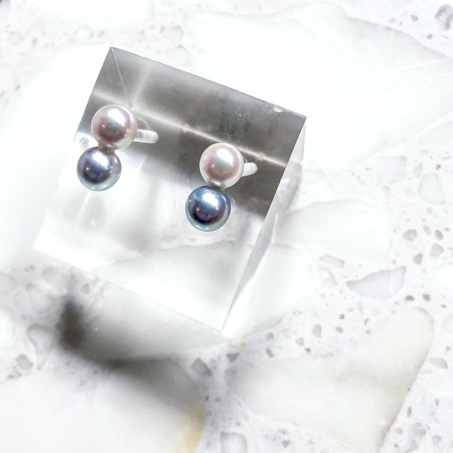 18K - Two tone color pierce - White & Blue