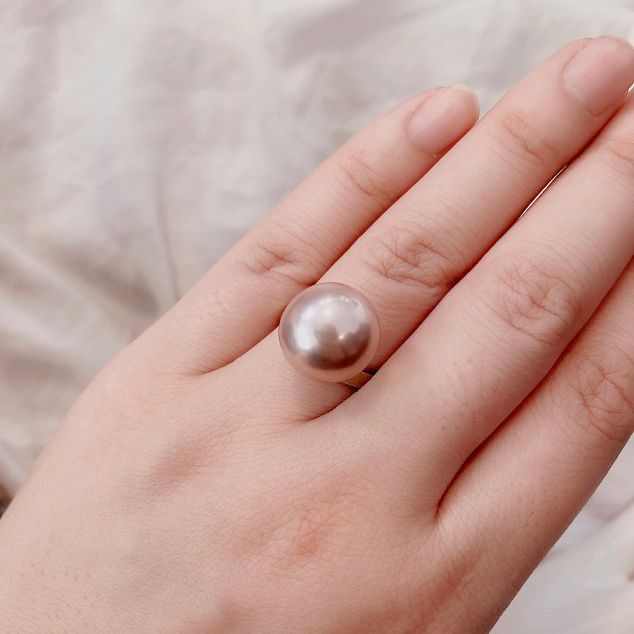 Silver - Free size ring - Pink