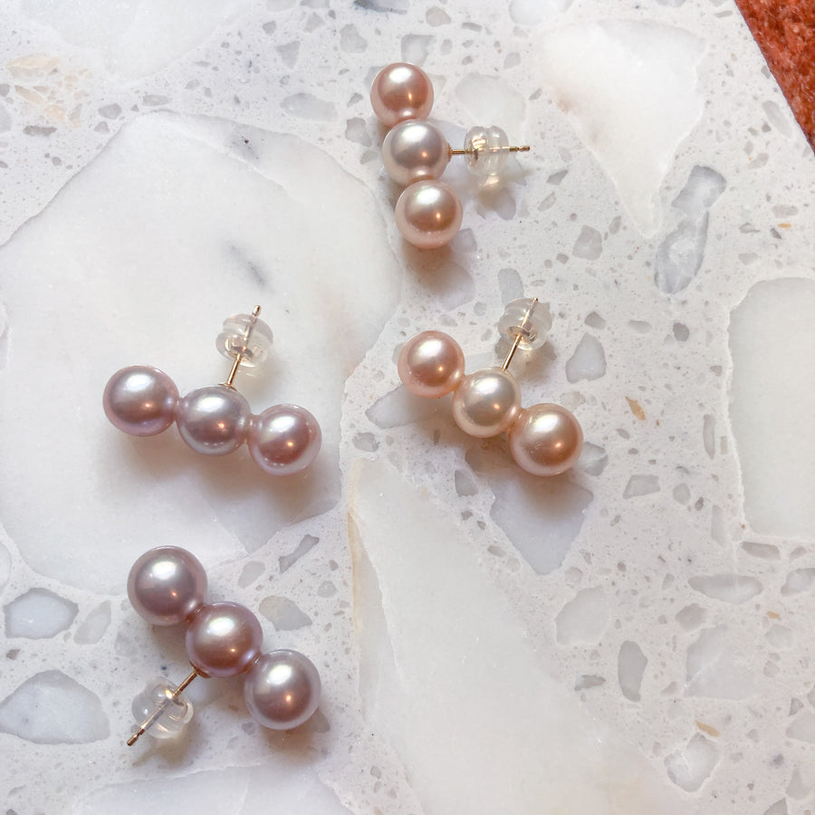 18K - 3 pearl pierce - Pink