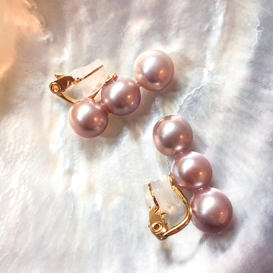 Silver - 3 pearl ear crips - Pink