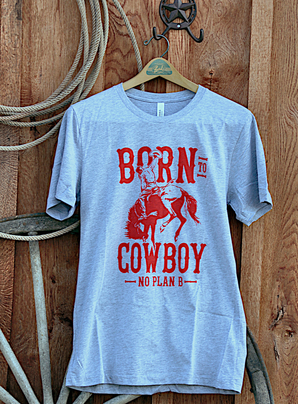 Born to Cowboy Grey T