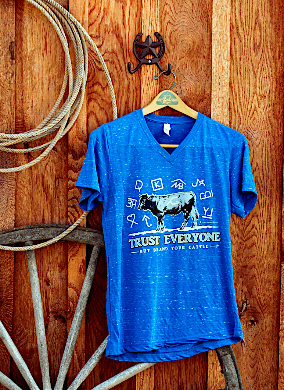 Brand Your Cattle V-Neck Blue Heather T