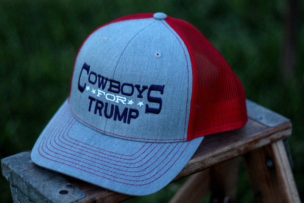 Cowboys For Trump Grey and Red Snapback Cap
