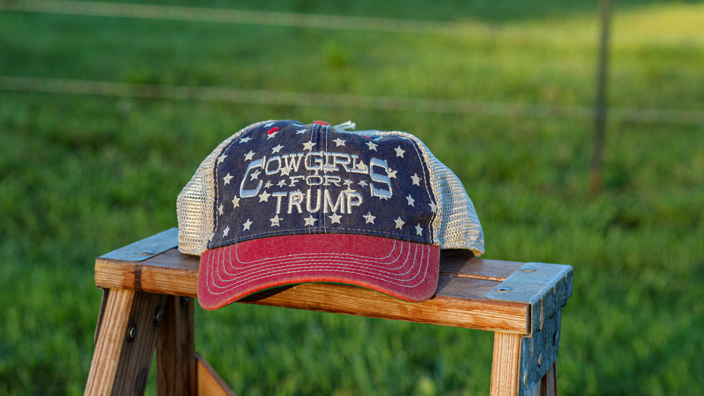 Cowgirls for Trump Flag Snap Back Cap