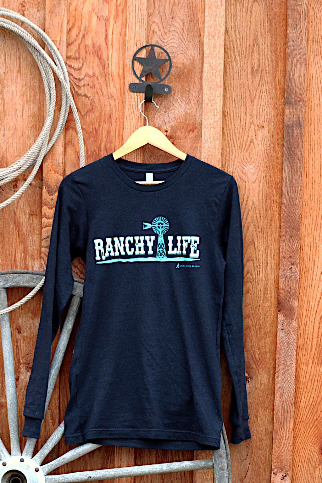Ranchy Life Windmill Long Sleeve Black and Blue T