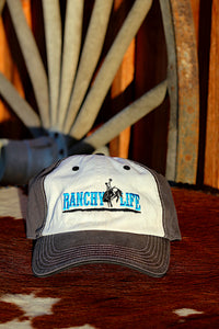Ranchy Life Bronc Blue and White Low Crown Cap