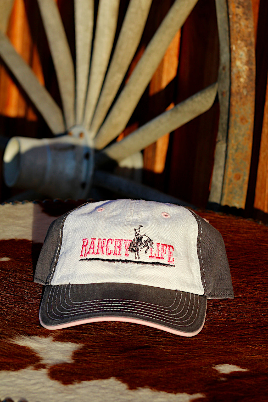 Ranchy Life Bronc Pink, White, Blue Low Crown Cap