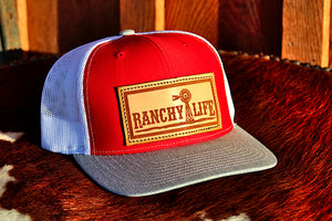 Ranchy Life Orange Leather Patch Snap Back Cap