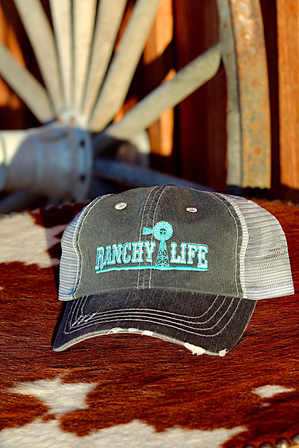 Ranchy Life Windmill Black and Blue Low Crown Cap