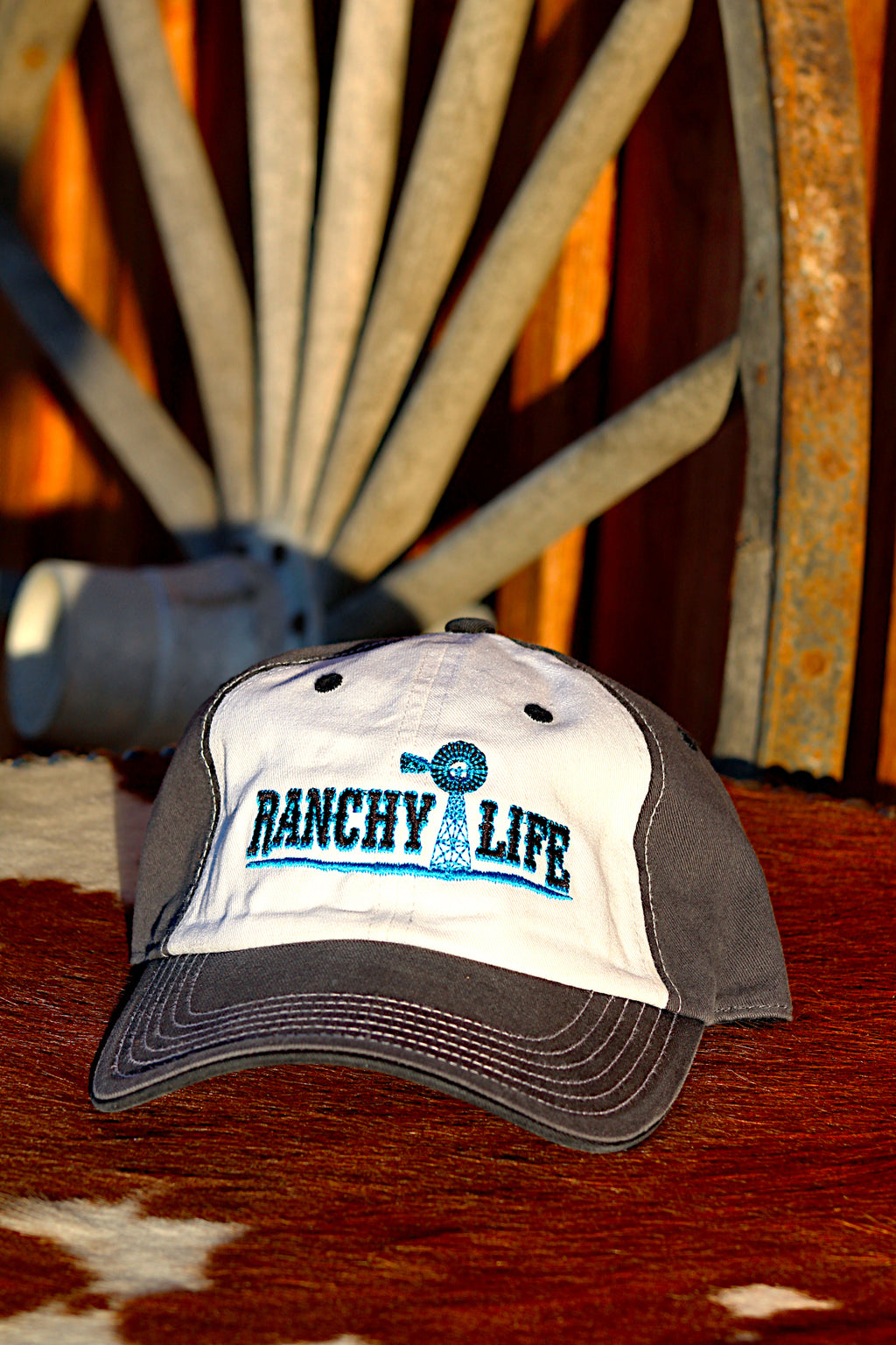 Ranchy Life Windmill Blue and White Low Crown Cap