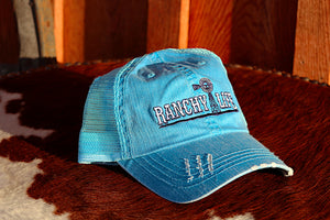 Ranchy Life Windmill Blue Low Crown Cap