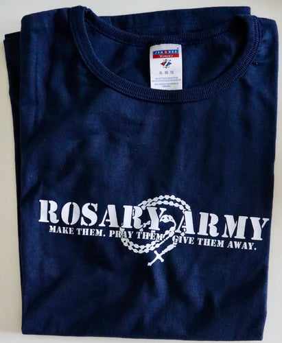 CLEARANCE - Women's Cut Navy Classic Rosary Army Logo T-Shirt (Free U.S. Shipping)