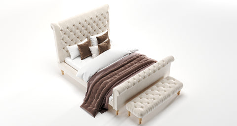 Akasa Chesterfield Sleigh Bed