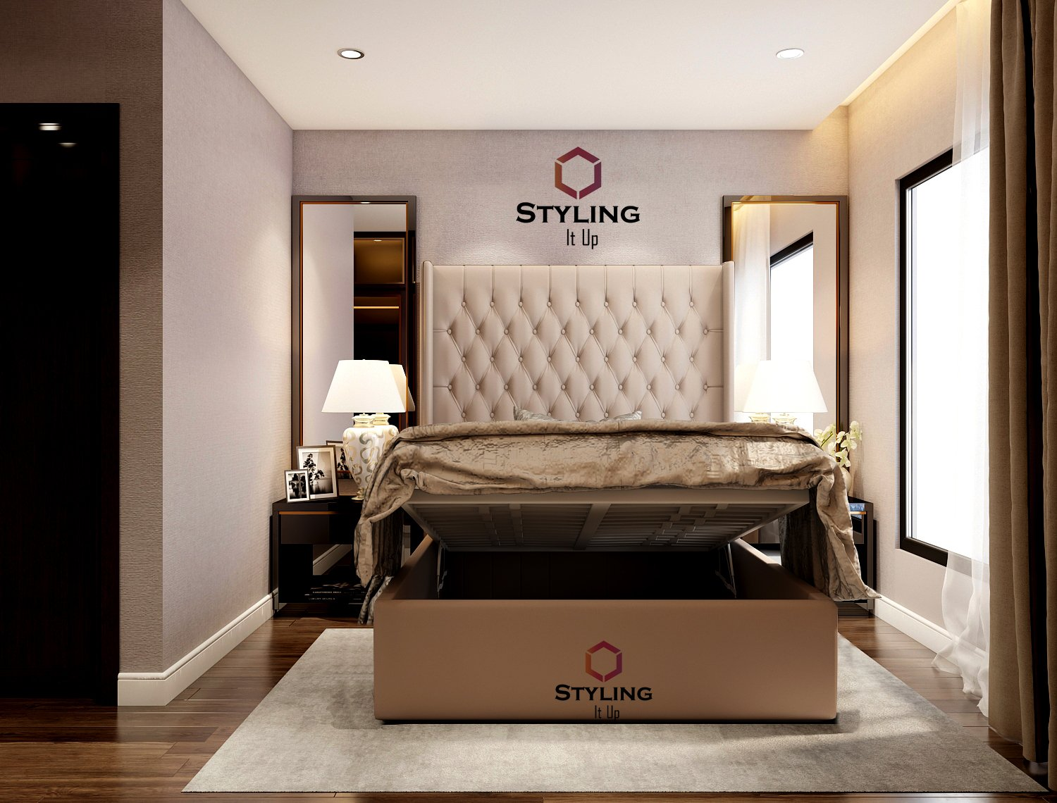Picture of: Claude Tall Headboard Ottoman Storage Bed