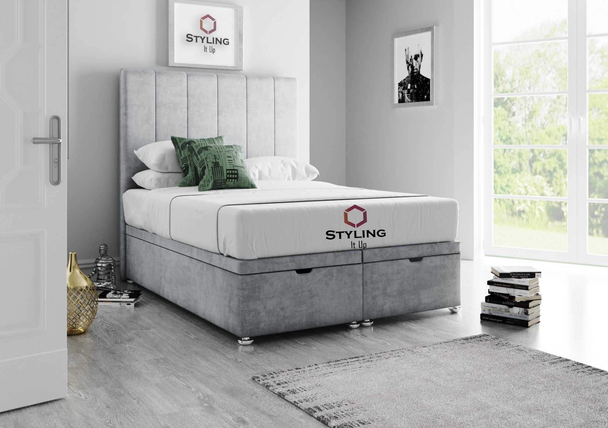 Aurelia Striped Divan Ottoman Storage Bed