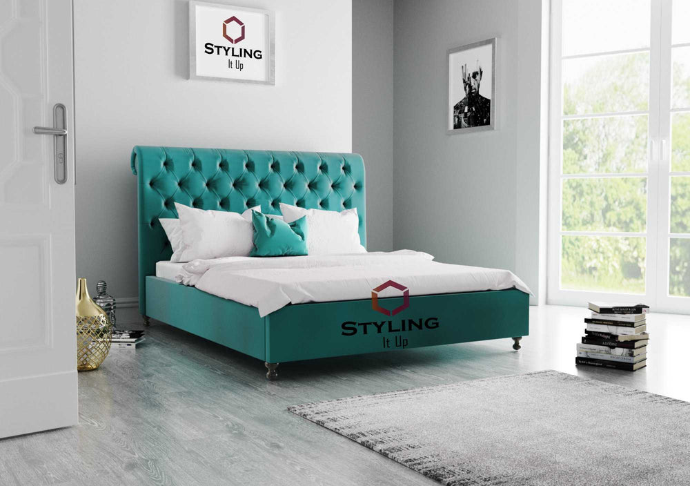 Lux Chesterfield Teal Plush Sleigh Bed - Styling It Up