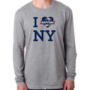 "Next Level Men's Gray"" I Love NY"" Long Sleeve Crew Tee"