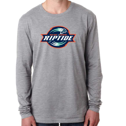 Next Level Men's Gray Primary Logo Long Sleeve Crew Tee