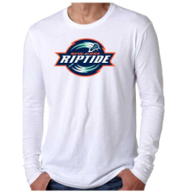 Next Level Men's White Primary Logo Long Sleeve Crew Tee