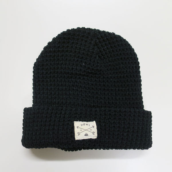THE FISHERMAN WAFFLE BLACK BEANIE