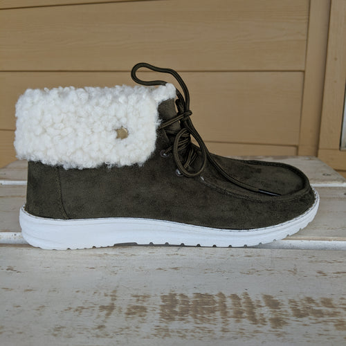 Ladies Army Green Fur Lined Sneaker