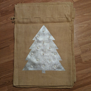 Large Burlap Pom Gift Bag