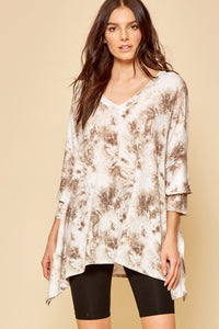 Taupe Tie-Dye Layered 3/4 Sleeve Top