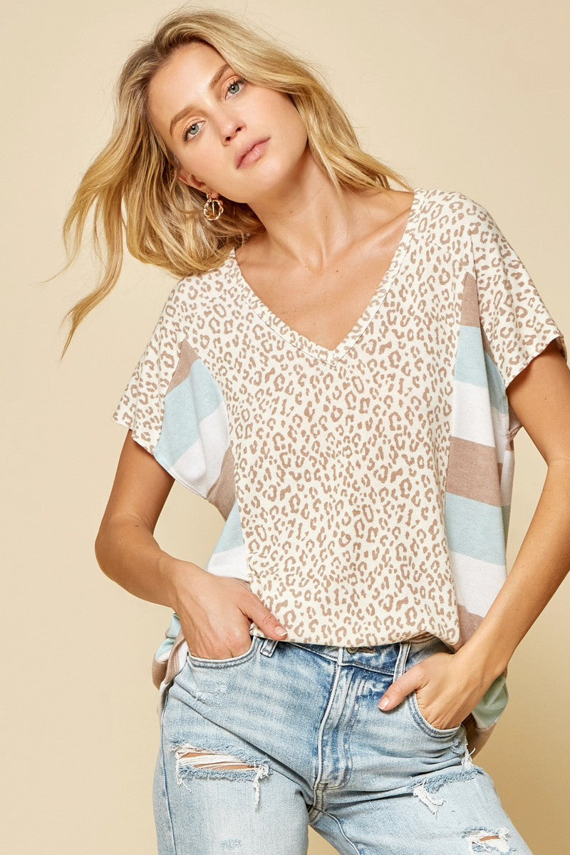 Mint/Taupe Animal Top Plus