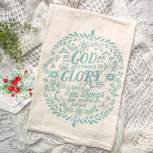 """To God Be the Glory"" tea towel"