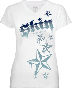 WOMENS V NECK TEE - LOCKED UP DOWN