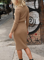 ASYMMETRICAL RIBBED MIDI DRESS
