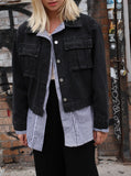 LAYERED DENIM SHIRT JACKET