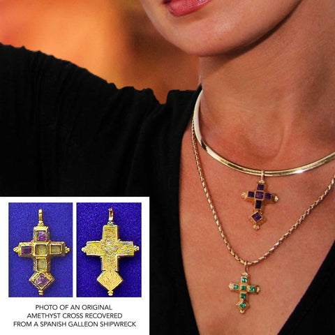This museum quality re-creation piece was made to resemble a cross recovered by Jack Haskins in 1989 while sub-contracting with Mel Fisher Center, Inc. The shipwreck which some researchers believe to be the Nuestra Señora de la Regla (nicknamed the Cabin Wreck) was part of the 1715 Spanish Treasure Fleet.