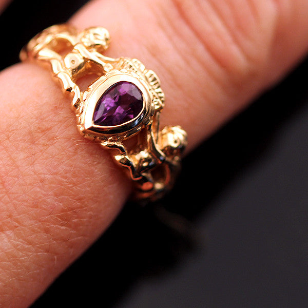 14K Gold Amethyst Crown Ring Spanish Galleon Shipwreck Re-creation