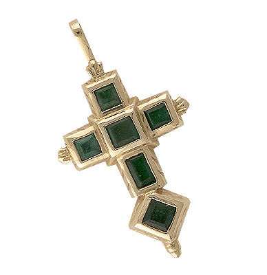 Spanish Galleon Shipwreck Re-creation 14K Gold Cross with Emeralds