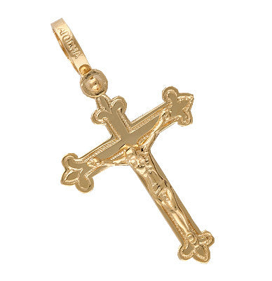 Spanish Galleon Shipwreck Re-creation 14K Gold Cross - Small