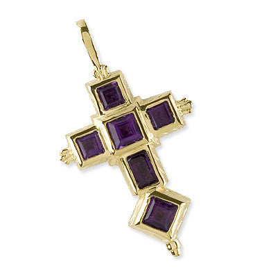 Spanish Galleon Shipwreck Re-creation 14K Gold Cross with Amethyst - Large