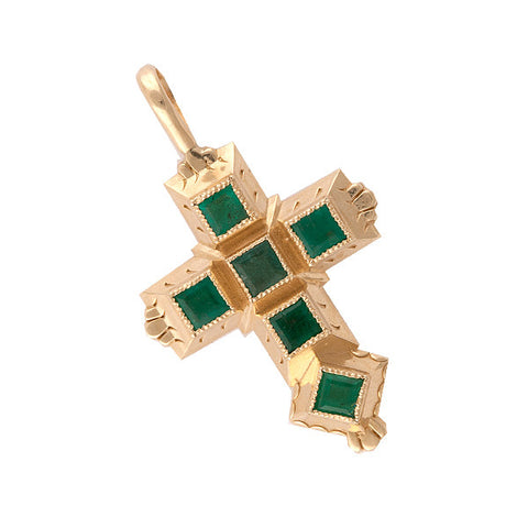Spanish Galleon Shipwreck Re-creation 14K Gold Cross with Emeralds - Small