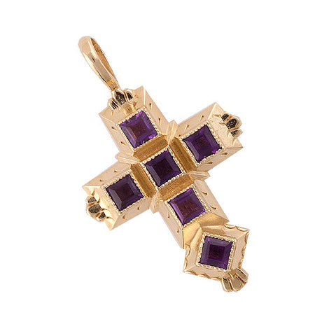 Spanish Galleon Shipwreck Re-creation 14K Gold Cross with Amethyst - Small